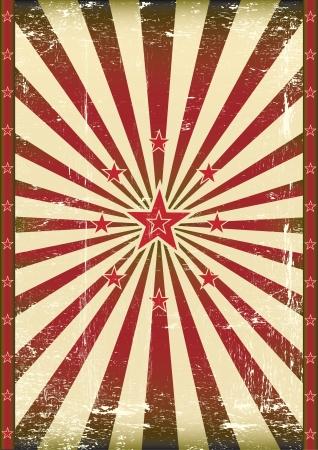 ビンテージ: 赤い太陽光線とスターのポスター