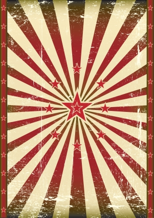 A poster with red sunbeams and star
