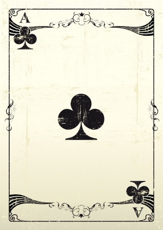 An Ace Of Clubs with a texture  Vector