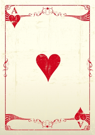 An Ace Of Hearts with a texture  Vector