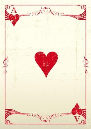 Un As de coeur avec une texture
