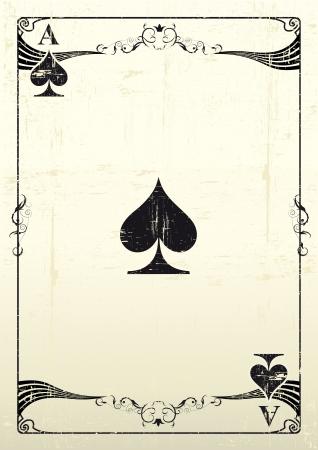 jeu de cartes: Un As de tr�fle avec une texture Illustration