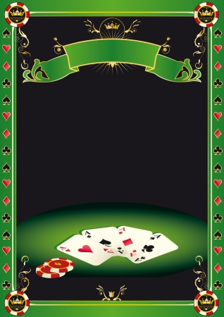 ace of clubs: A background with gambling elements  cards and  Gambling Chips  on a table  It s ideal to promote a tournament of poker  Illustration