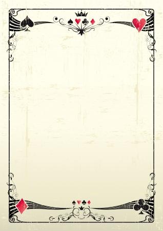 cartas de poker: Un marco de tarjeta de grunge para un cartel Vectores