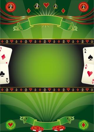 jeu de cartes: Une affiche pour un casino �tes-vous pr�t pour le tour du monde de poker Illustration