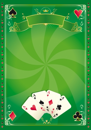 card game: A green vector background for your advertising