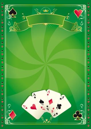 jeu de carte: Un vecteur fond vert pour votre publicité Illustration