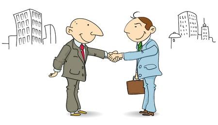 buen trato: dos hombres de negocios dándose la mano en la calle. El acuerdo es bueno!