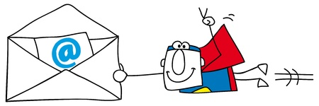 disguised: Superman with an email envelope      Illustration