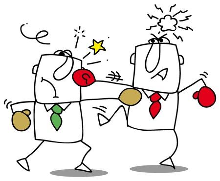 twee zakenmensen vechten Het is een competitie Stock Illustratie