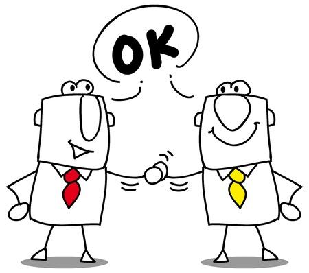 Dos empresarios agitando las manos  Ilustración de vector