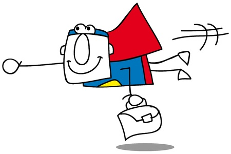 super businessman is flying with his briefcase Illustration