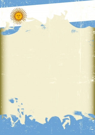 argentina: A poster with a large scratched frame and a grunge argentine flag for your publicity