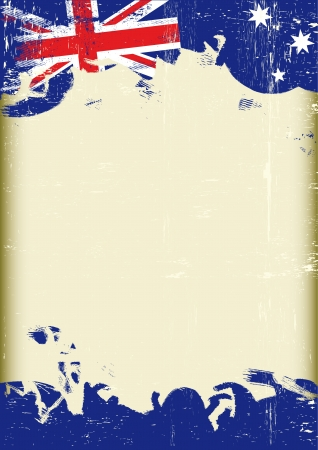 english: A poster with a large scratched frame and a grunge australian flag for your publicity  Illustration