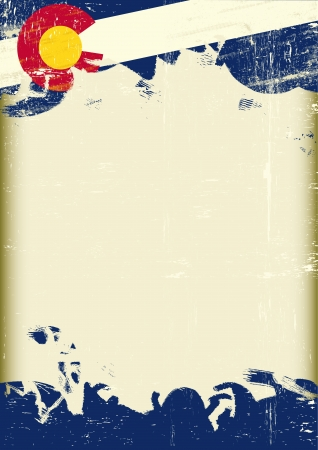 parchment texture: Un manifesto con una grande cornice graffiato e un grunge bandiera del Colorado per la vostra pubblicit�