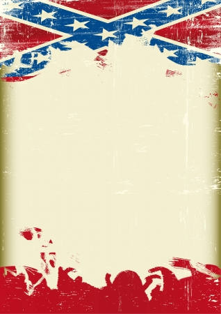 A poster with a large scratched frame and a grunge confederate flag for your publicity