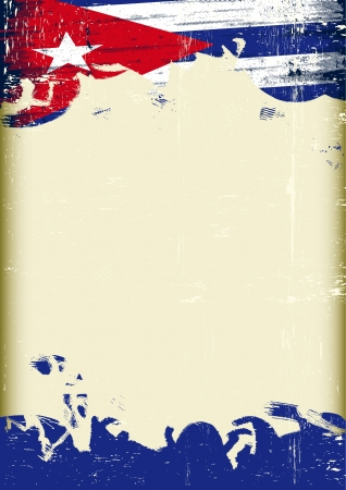 cuban culture: A poster with a large scratched frame and a grunge cuban flag for your publicity