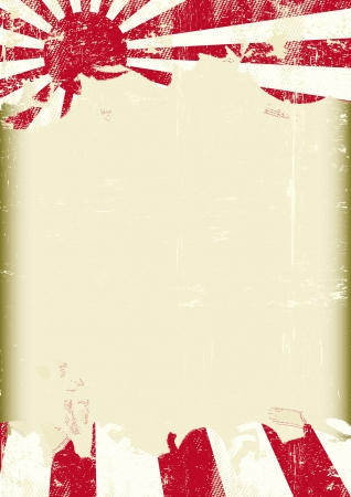 A poster with a large scratched frame and a grunge flag of japan war for your publicity  Vector