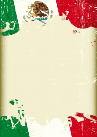 mexican culture: A poster with a large scratched frame and a grunge mexican flag for your publicity