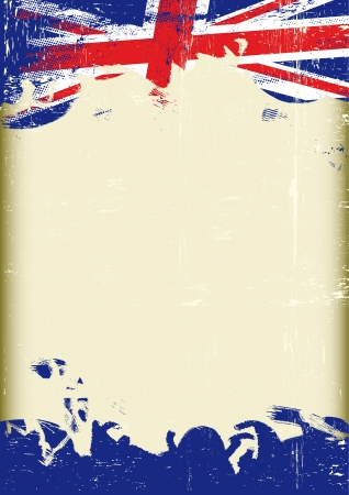 english:  A poster with a large scratched frame and a grunge union jack flag for your publicity  Illustration