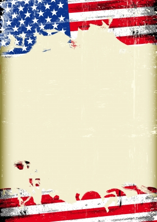 independance day: A poster with a large scratched frame and a grunge flag of united states for your publicity