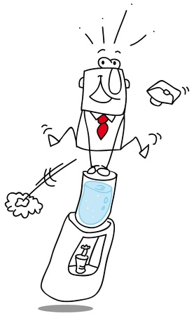 conquering adversity: Un hombre de negocios salta la fuente de agua en la oficina Vectores
