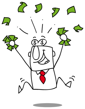 Very happy man under a rain of cash Vector