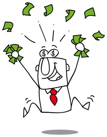 Very happy man under a rain of cash Illustration