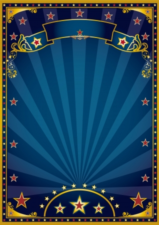 cabaret stage: A retro blue background for a poster with sunbeams