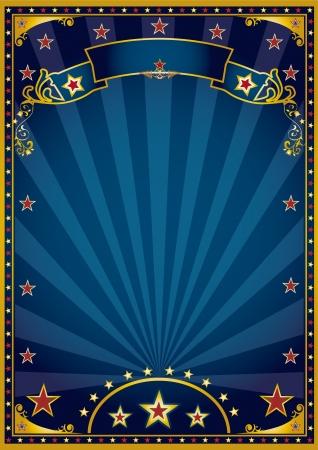fondo de circo: Un fondo azul retro de un cartel con rayos de sol Vectores