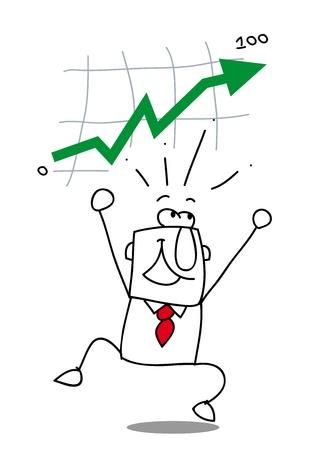 stock trader: negocio levantarse Joe es muy feliz que alcanza su objetivo Vectores