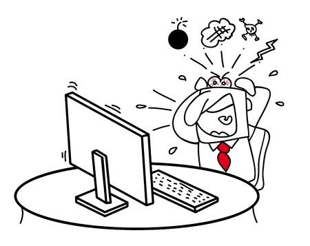 My computer make me crazy  Help me, my computer is broken  Illustration