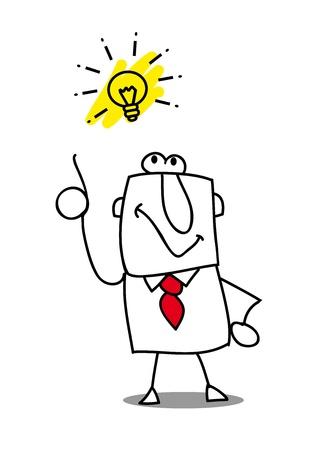 ingeniero caricatura: Un hombre de negocios tiene una buena idea