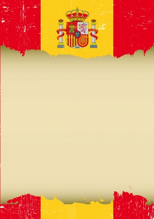 barcelona spain: A used spanish Flag for this poster