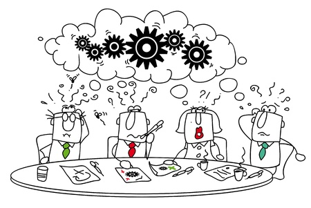 Deze groep van managers rond de tafel probeert een oplossing te vinden Stock Illustratie