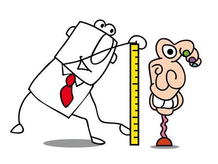 newspaper cartoons: Businessman who measures a contemporary statue