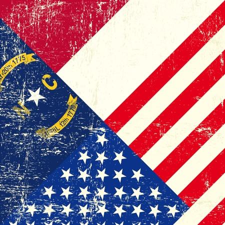 smudged: North Carolina and USA grunge Flag
