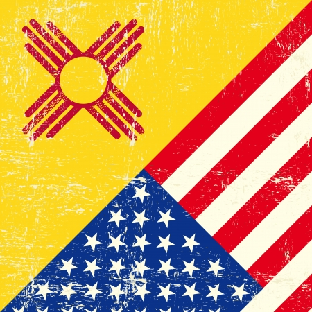 new mexico: New Mexico and USA grunge Flag