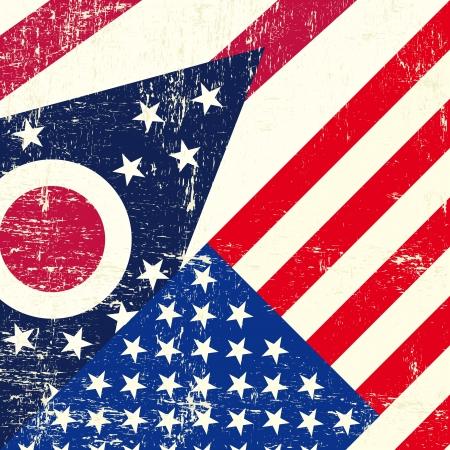 Ohio and USA grunge Flag Stock Vector - 22425466