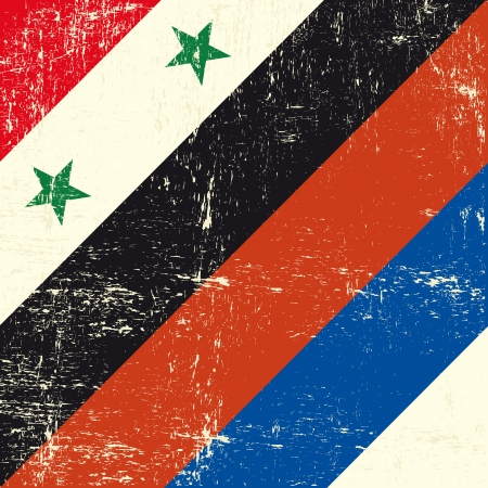 tour operator: This flag represents the relationships between Russia and Syria Illustration
