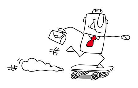 Businessman Skater, rushing for something Vector