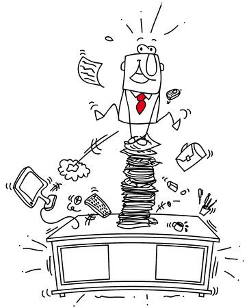 Deze man sprong op de top van zijn bureau Stock Illustratie