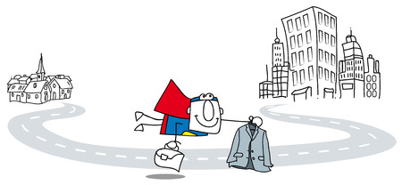 Super homme d'affaires voler à travailler avec la serviette et lui convenir sa métaphore de l'évolution de la carrière d'un homme d'affaires Banque d'images - 22426255