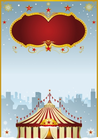 A poster with a big top in the city  It s christmas circus   Illustration