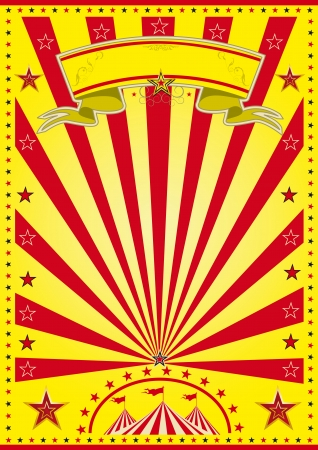 A yellow circus poster with red sunbeams