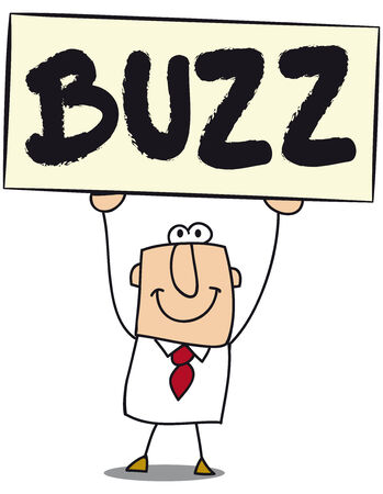 buzz:  Business man with a board on which is write Buzz