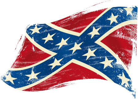 civil war: A confederate flag in the wind with a texture