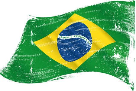 A brazilian flag in the wind with a texture  Illusztráció