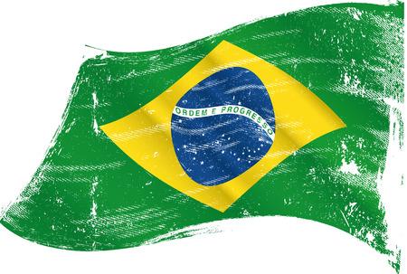 Un drapeau brésilien dans le vent avec une texture