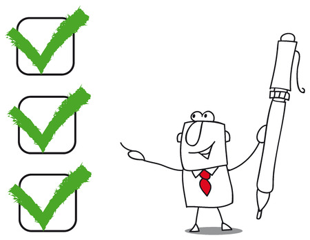 abort: A business man with a pen checked a list Illustration